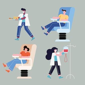 Mensen op stoel doneren met bloedsymboolset