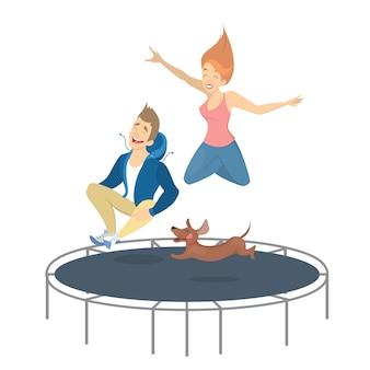 Mensen op trampoline springen met hond op wit.