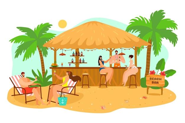 Mensen op vakantie drinken cocktail in het zand van de zomeraard