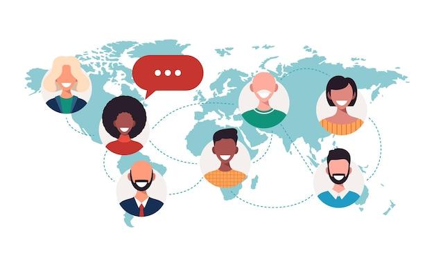 Mensen op wereldkaart praatjebellen globaal communicatieconcept teamwerkverbinding