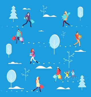 Mensen op wintervakantie. persoon met boodschappentas, geschenken en kerstboom. kerstavond
