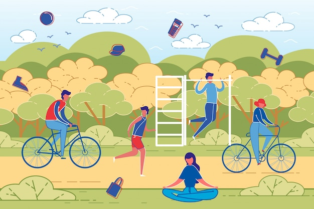 Mensen outdoor activiteit en sport training vector.