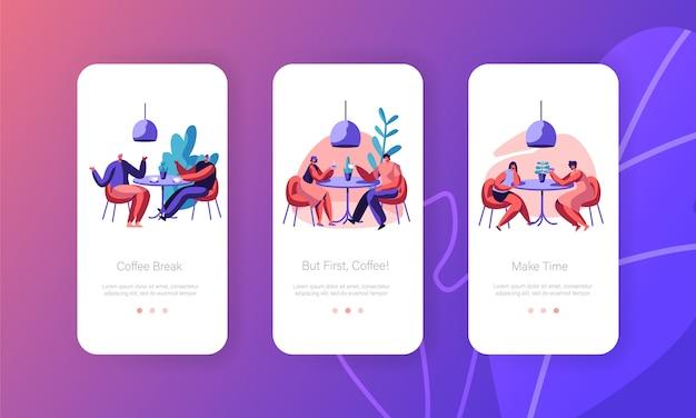 Mensen paar drinken koffie mobiele app-pagina schermset aan boord. man en vrouw praten aan de ochtend cafe-tafel. zakelijke lunchbijeenkomst op de website of webpagina van het restaurant. platte cartoon vectorillustratie