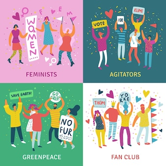 Mensen paraderen 2x2 illustratie concept set feministen agitators greenpeace en fanclub vierkante illustratie