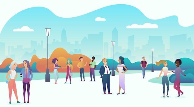Mensen paren communiceren, praten en wandelen in moderne stadsstraat of park. trendy zachte kleurverloop