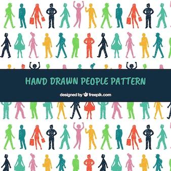 Mensen patroon in de hand getrokken stijl