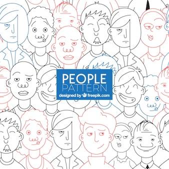 Mensen patroon met gezichten