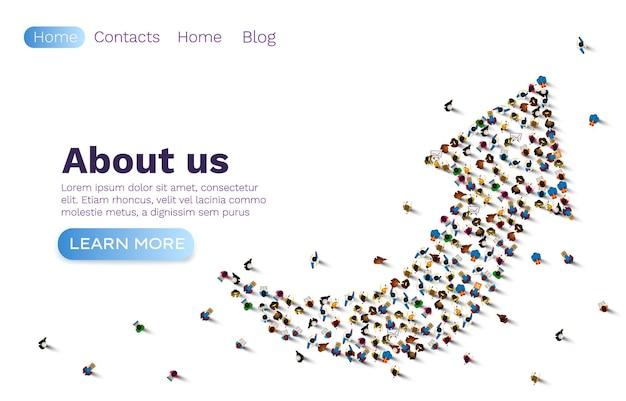 Mensen pijl-omhoog, groepsnetwerkwebsite, bannerteamwerk.