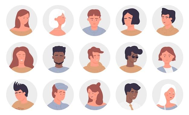 Mensen portret ronde avatars set multinationale jonge en oude man vrouw gezicht userpics