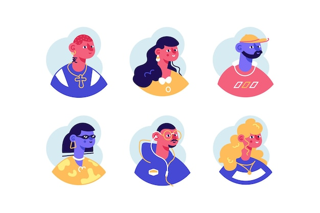 Mensen portretten avatar pictogrammen instellen plat ontwerp.