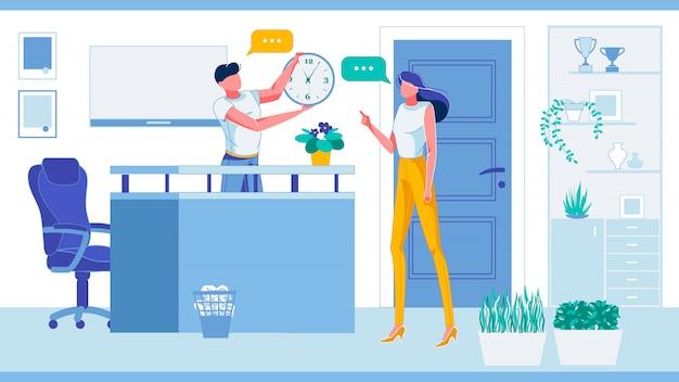 Mensen praten bij de receptie of op de werkruimte, kamer.
