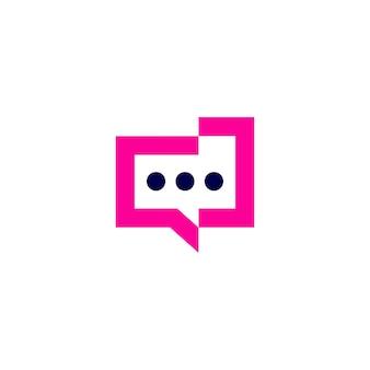 Mensen praten chat bubble communicatie conferentie logo vector pictogram illustratie