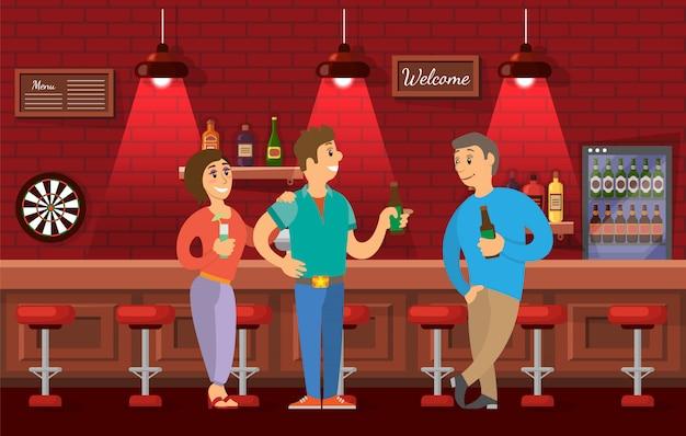 Mensen praten in de bar, vrienden ontmoeten elkaar in de pub