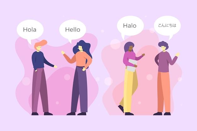 Mensen praten in verschillende talen illustratie
