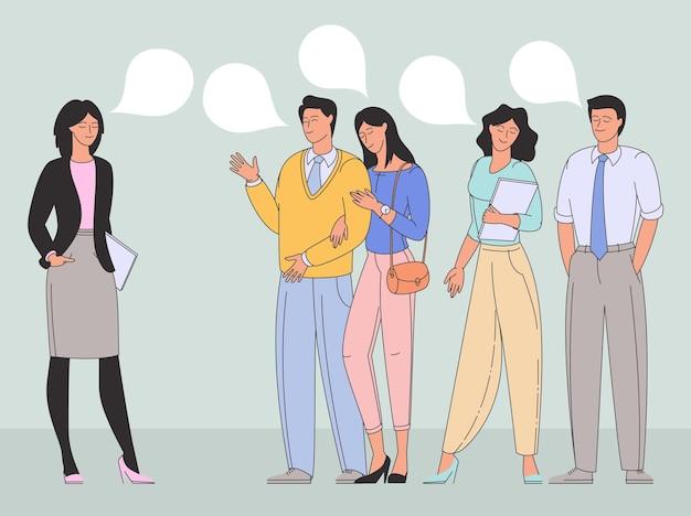 Mensen praten of spreken en communiceren