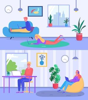 Mensen professionele specialist freelancer werknemer, vrouw en man online externe werknemer banner platte vectorillustratie, comfortabele werkplek. concept modern huisgemaakt kantoor, programmeur en ontwerper.
