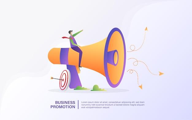 Mensen promoten hun bedrijf
