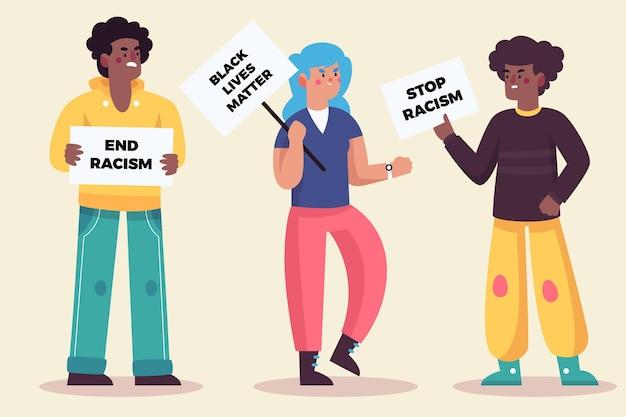 Mensen protesteren en praten met elkaar