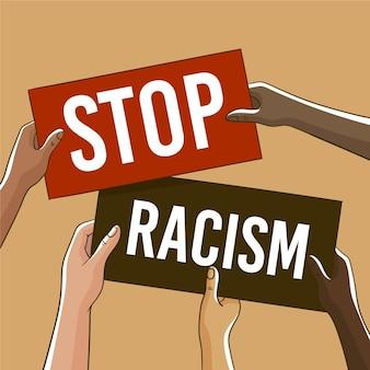 Mensen protesteren met borden tegen racisme