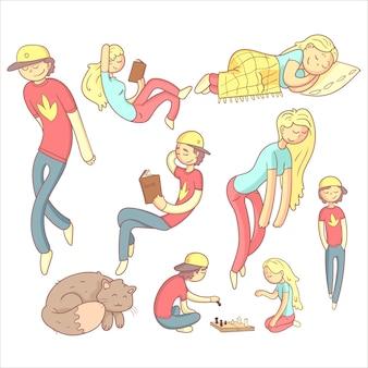 Mensen realxing illustratie set