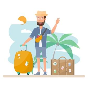 Mensen reizen. koppel met tas voor een vakantie