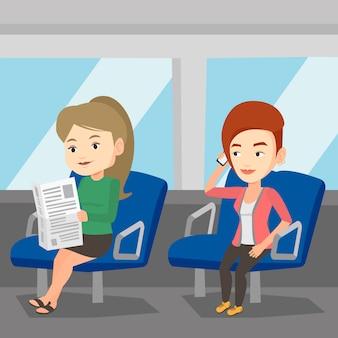 Mensen reizen met het openbaar vervoer.