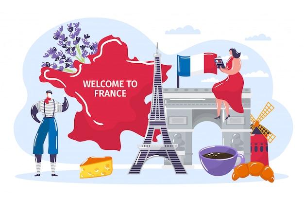 Mensen reizen naar frankrijk, cartoon actieve man vrouw toeristische karakter in traditionele franse kleding bezoek aan landmark