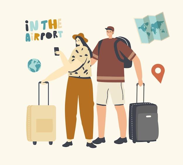 Mensen reizen, vrouw en zakenman in luchthaven