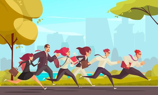 Mensen rennen die te laat op hun werk zijn bij stedelijke skylines cartoon