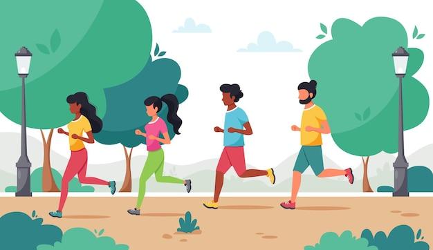 Mensen rennen in het park.