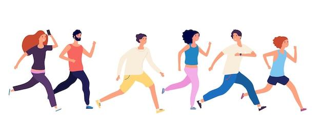 Mensen rennen. menigte joggen, geïsoleerde hardlopers.