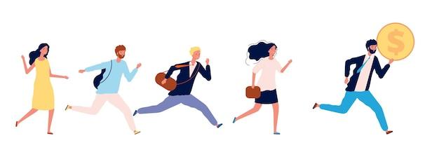 Mensen rennen naar geld. succesvolle zakenman met munt, bedrijfsleider loopt eerst. man vrouw heeft baan, werknemersconcurrentie of menselijke hebzucht nodig vector. zakenman rennen voor geld en winst illustratie