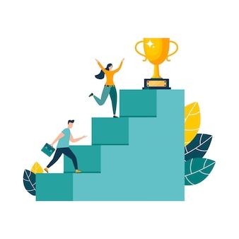 Mensen rennen naar hun doel op de trap, omhoog. vector illustratie geïsoleerde achtergrond.