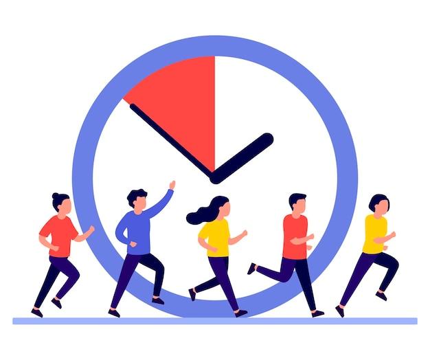 Mensen rennen omdat de tijd dringt