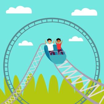 Mensen rijden achtbaan