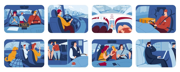 Mensen rijden auto, chauffeurs platte illustraties set.
