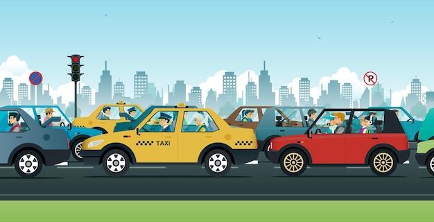 Mensen rijden auto's op straat met verkeer in de stad