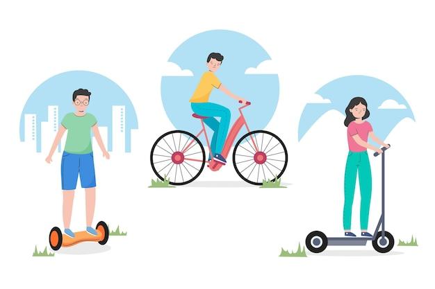Mensen rijden elektrisch transport pack