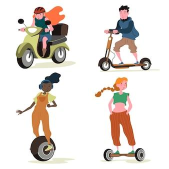 Mensen rijden elektrisch vervoer collectie