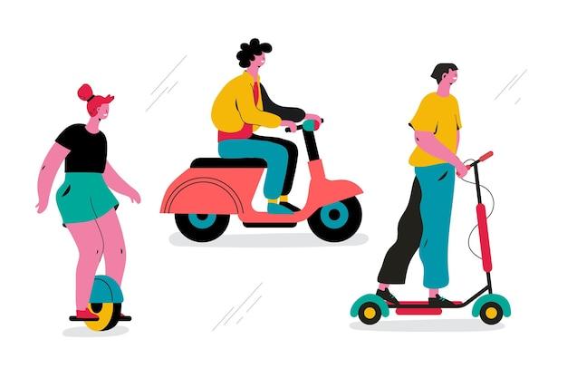 Mensen rijden elektrisch vervoer concept