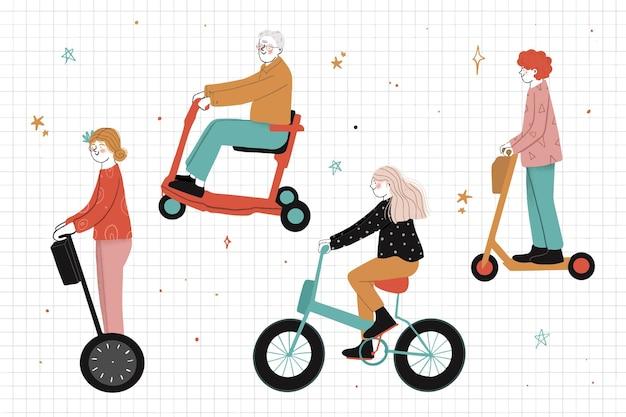 Mensen rijden elektrisch vervoer illustratie