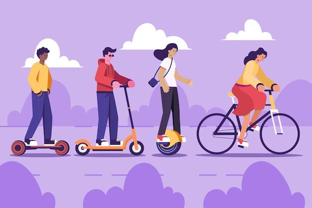Mensen rijden elektrisch vervoer