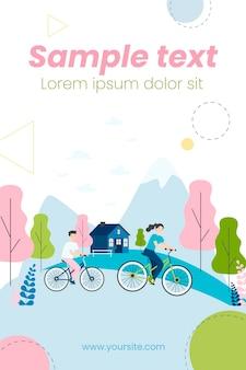Mensen rijden fietsen buiten illustratie