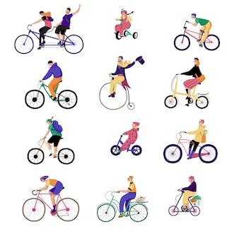 Mensen rijden fietsen, illustratie, karakters geïsoleerd op wit met verschillende originele fietsen, vlakke stijl.