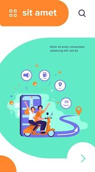 Mensen rijden op een scooter, met behulp van de navigatie-app en de stadsplattegrond op de mobiele telefoon voor tracking
