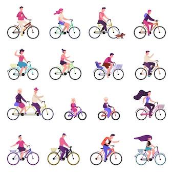 Mensen rijden op fietsen. outdoor activiteiten, groep mensen fietsen, fietsen, actieve familie gezonde levensstijl illustratie set. fiets- en fietstocht, man vrouw buiten actief