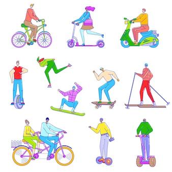 Mensen rijden op verschillende voertuigen, illustratie in lijn kunststijl, fiets, scooter, ski en skateboard.