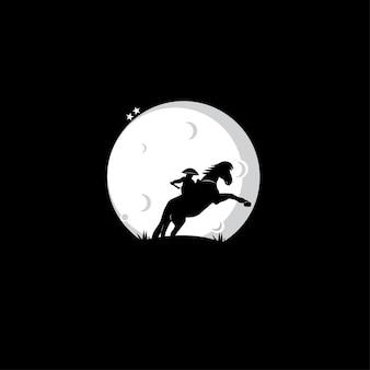 Mensen rijden paarden silhouetten