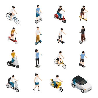 Mensen rijden persoonlijke eco-voertuigen