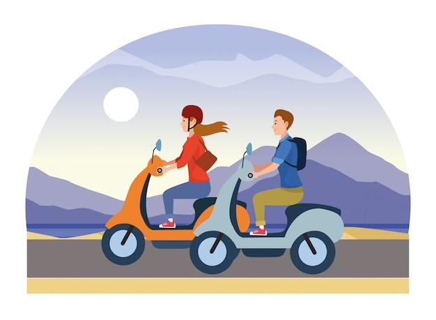 Mensen rijden scooters motorfietsen cartoon